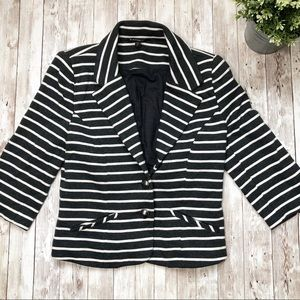 EXPRESS Black White Striped Cotton Blazer